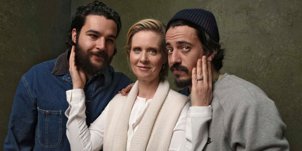 "Director Josh Mond, musician/actor Kid Cudi, actor Christopher Abbott and actress Cynthia Nixon seen at the premiere of ""James White"" during the 2015 Sundance Film Festival on Friday, Jan. 23, 2015, in Park City, Utah. (Photo by Arthur Mola/Invision/AP)"